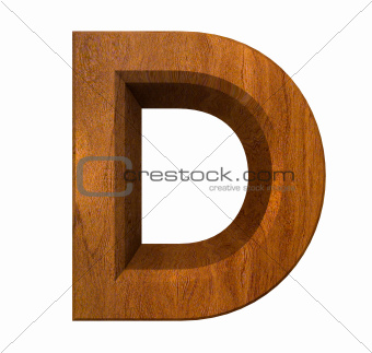 3d letter D in wood