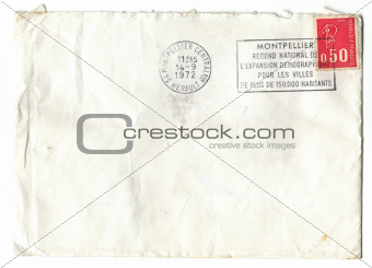 Old red french stamp on envelop
