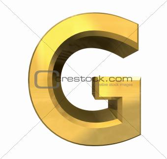 g alphabet letter  Image Description: gold 3d