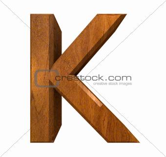 3d letter K in wood