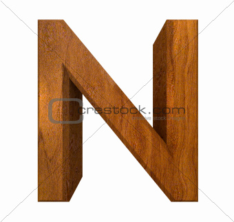 3d letter N in wood