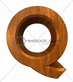 3d letter Q in wood