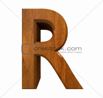 3d letter R in wood