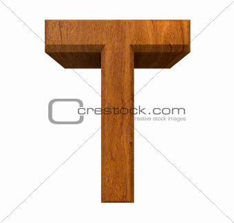 3d letter T in wood