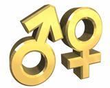 Male and female sex symbols (3D)