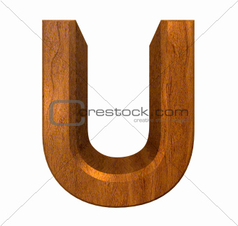 3d letter U in wood