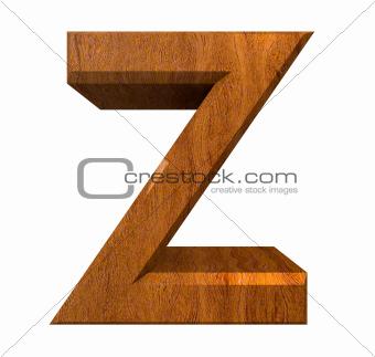 3d letter Z in wood