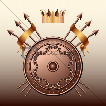 Crown, Bronze shield and crossed spears.