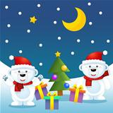 The christmas bears greets waving to the audience
