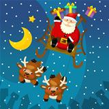 The santa claus in the sled flying with the gifts over the city