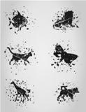 Set of animal blots. A vector illustration
