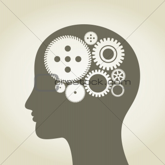 Gear wheel in a head of the person. A vector illustration
