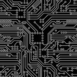 Black computer circuit board. Seamless pattern. Vector