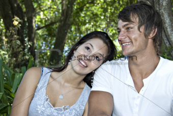 a Beautiful young couple having fun outdoors