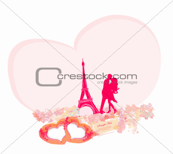 Romantic couple in Paris kissing near the Eiffel Tower. Retro card.