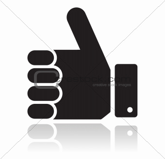 Thumb up black glossy icon