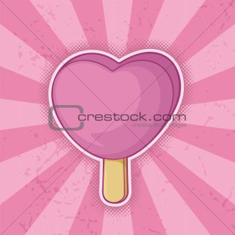 Heart shaped pink ice cream stick