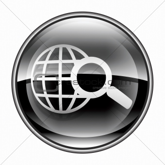 globe and magnifier icon black, isolated on white background.