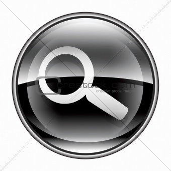 magnifier icon black, isolated on white background.