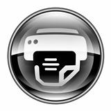 printer icon black, isolated on white background.