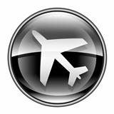 Airplane icon black, isolated on white background.