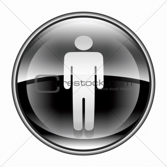 men icon black, isolated on white background.