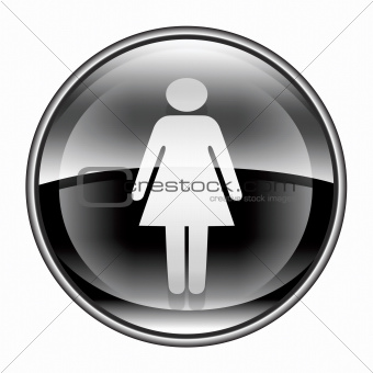 woman icon black, isolated on white background