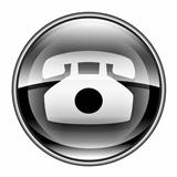 phone icon black, isolated on white background.