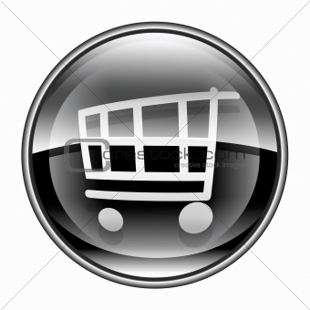 shopping cart icon black, isolated on white background.