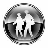 people icon black, isolated on white background