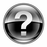 help icon black, isolated on white background