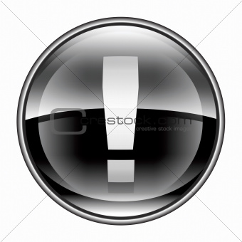 Exclamation symbol icon black, isolated on white background