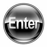 Enter icon black, isolated on white background