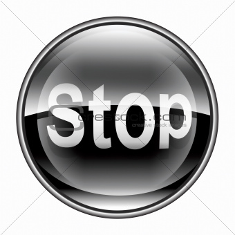 Stop icon black, isolated on white background