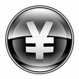 Yen icon black, isolated on white background