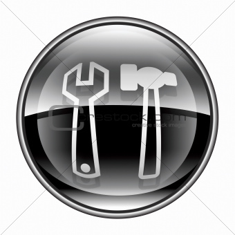 Tools icon black, isolated on white background.