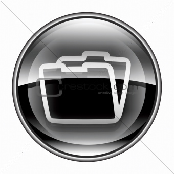 Folder icon black, isolated on white background
