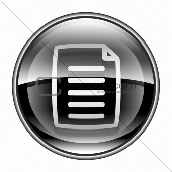 Document icon black, isolated on white background