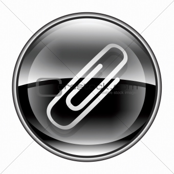 Paper clip icon black, isolated on white background