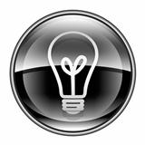 Light Bulb Icon black, isolated on white background