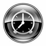 Alarm clock icon black, isolated on white background