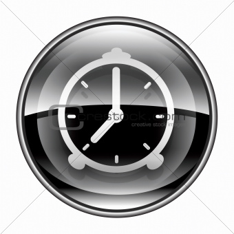 Alarm clock icon black, isolated on white background