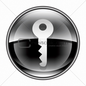 Key icon black, isolated on white background