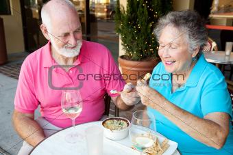 Dating Seniors Enjoy Appetizer