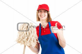 Teenage Worker Thumbs Up