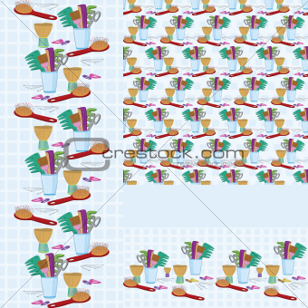 Beauty salon combs and brushes  horizontal and vertical  seamless pattern