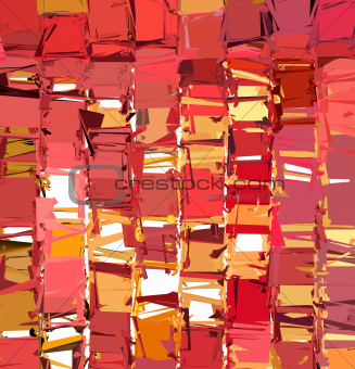 3d abstract fragmented pattern in pink orange red