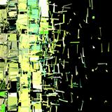 abstract fragmented cube pattern green yellow backdrop