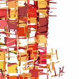 abstract fragmented pattern in pink orange red