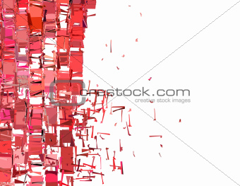 abstract fragmented plane pattern in pink red